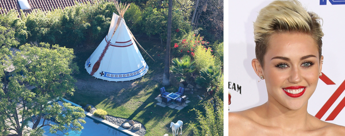 MIley Cyrus Erects $25K Teepee In The Backyard Of Her Studio City Home